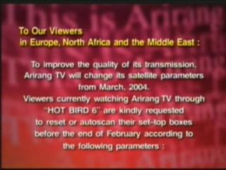 18/03/04: Arirang TV infocard on HotBird, 13° east,